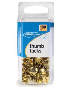 Gold Thumb Tacks, 100 Count