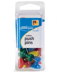 Jumbo Push Pins, Multi-Color 25 Count