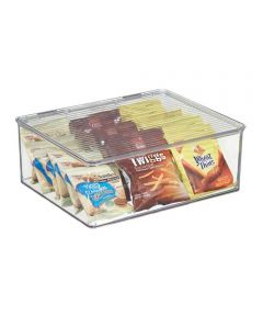 Kitchen Binz Clear Stackable Storage Box with Lid, 11.3 x 13.3 x 5.0 Inches