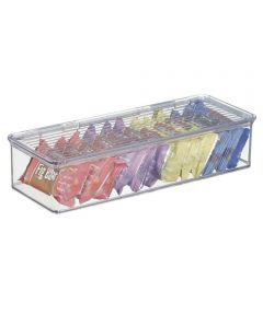 Kitchen Binz Clear Stackable Storage Box with Lid, 5.5 x 13.3 x 3.0 Inches
