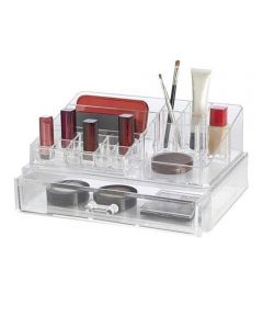 Clearly Chic 21-Compartment Large Cosmetic Organizer Tray with Drawer