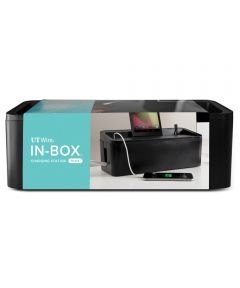 In-Box Desktop Mobile Charging Station & Power Organizing Box, 12.50x5.13 Inches, Black