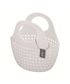 Tot Plastic Tote Basket, White, 10x10x5 Inches