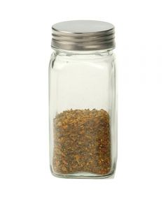 4 Ounce Clear Square Glass Spice Bottle