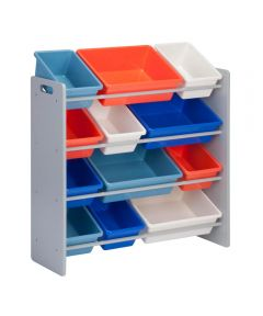 Kids Toy Organizer with Storage Bins, Gray/Assorted Colors