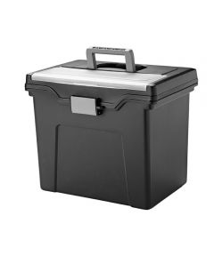 Portable Letter Size File Box with Organizer Lid