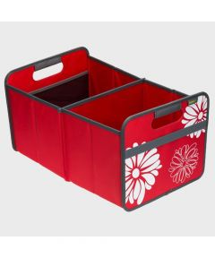 Classic Large Foldable Storage Box in Hibiscus Red with Flowers