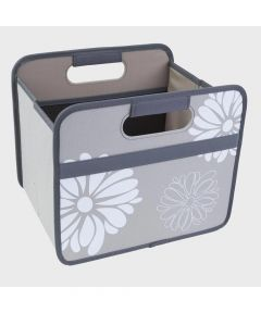 Classic Small Foldable Storage Box in Stone Gray with Flowers