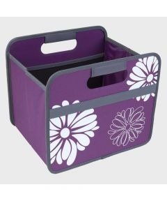 Classic Small Foldable Storage Box in Purple with Flowers