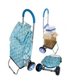 Convertible Trendy Trolley Dolly Shopping Cart, Moroccan Tile