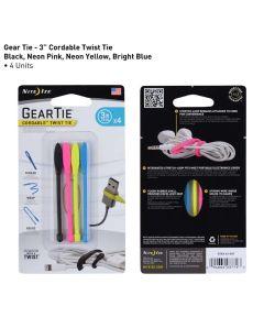 "Gear Tie 3"" Cordable Rubber Twist Tie, Multi-Color 4 Pack"