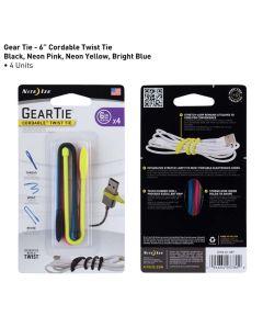 "Gear Tie 6"" Cordable Rubber Twist Tie, Multi-Color 4 Pack"