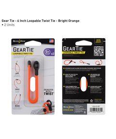 "Gear Tie 6"" Loopable Rubber Twist Tie, 2-Pack, Bright Orange"
