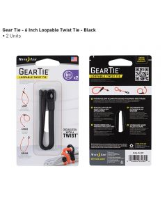 "Gear Tie 6"" Loopable Rubber Twist Tie, 2-Pack, Black"