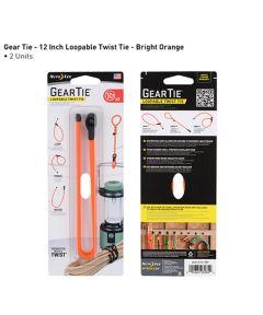 "Gear Tie 12"" Loopable Rubber Twist Tie, 2-Pack, Bright Orange"