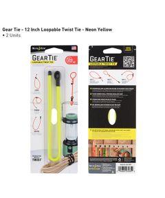 "Gear Tie 12"" Loopable Rubber Twist Tie, 2-Pack, Neon Yellow"
