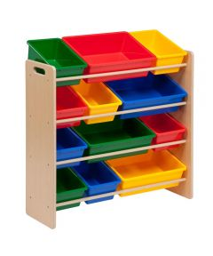 Kids Toy Organizer with Storage Bins, Natural/Primary Colors
