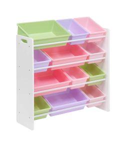 Kids Toy Organizer with Storage Bins, White/Pastel Colors