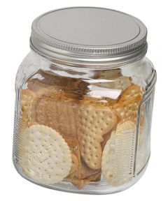 32 Ounce Cracker Jar With Brushed Aluminum Lid