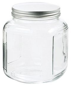 1 Gallon Clear Glass Cracker Jar With Brushed-Aluminum Lid