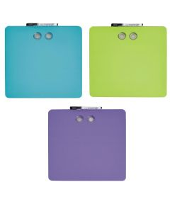 Square Magnetic Whiteboards, 11.5x11.5 Inches, Assorted Colors