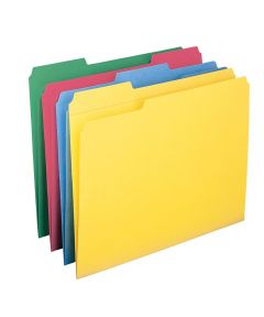 Letter Size File Folders with Reinforced Tabs, 12 Pack, Assorted Colors