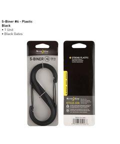 Size #6 S-Biner Plastic Carabiner, Black