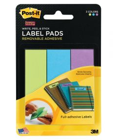 1x3 Inch Removable Label Pads, Multi-Color 3 Count