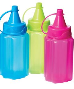 Sauce To Go Compact Squeeze Bottles, Multi-Color, 3 Pack