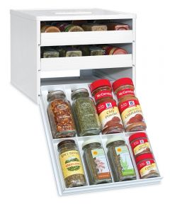 24 White Classic Spice Stack Spice Bottle Cabinet Organizer