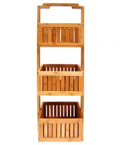 Lohas 3-Tier Basket Bamboo Stationary Bathroom Caddy