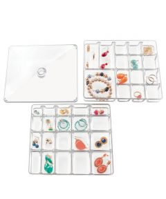Linus Small Jewelry Storage Box, 3-Piece Set with 40 Compartments