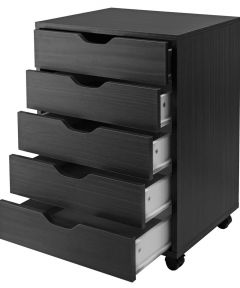 Black 5-Drawer Halifax Cabinet, 19.21 x 15.98 x 26.3 Inches