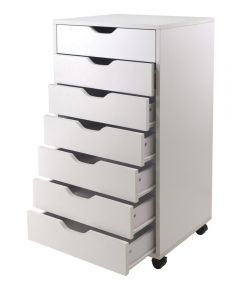 White 7 Drawer Halifax Cabinet, 19.21 x 15.98 x 35.35 Inches