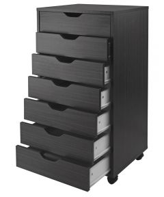 Black 7-Drawer Halifax Cabinet, 19.21 x 15.98 x 35.35 Inches