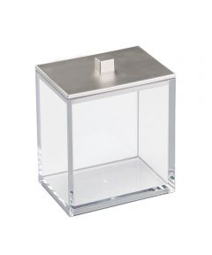 Clarity Vanity Canister with Lid, Clear/Brushed Nickel