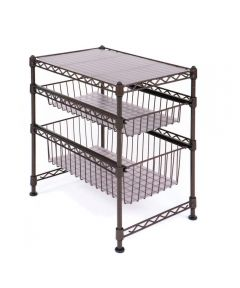 Stackable 3-Tier Sliding Double Basket Cabinet Organizer, Satin Bronze