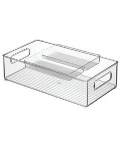 Fridge Binz Kitchen Storage Bin with Tray, 8x14x4, Set of 2