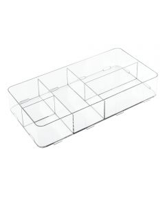 Clarity Interlocking Divided Drawer Organizer, 8x16x3, 5 Compartments