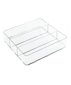 Clarity Interlocking Divided Drawer Organizer, 12x12x3, 3 Compartments