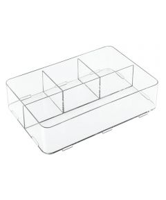 Clarity Interlocking Divided Drawer Organizer, 8x12x3, 4 Compartments