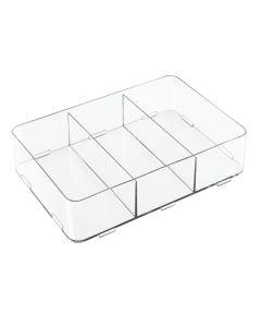 Clarity Interlocking Divided Drawer Organizer, 8x12x3, 3 Compartments