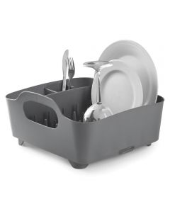 Tub Dish Rack with Built-In Utensil Holder, Charcoal