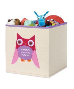 Pink Owl Square Storage Tote