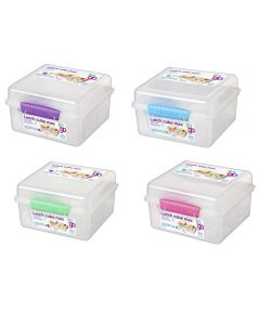2 Liter Lunch Cube Max To Go Food Container with Yogurt Pot, Assorted Colors