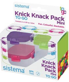 Mini Knick Knack Pack To Go Containers, Multi Color, 4 Pack