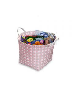 Woven Basket with Handles, Pink, Gray, White
