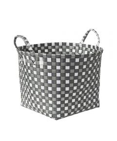 Woven Basket with Handles,Gray, White