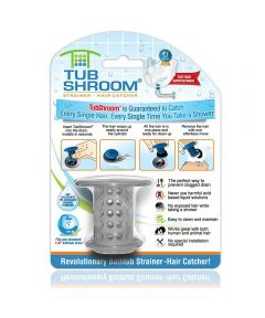 Tubshroom Bathtub Drain Strainer Hair Catcher, Gray