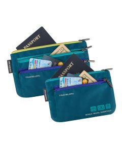 World Travel Essentials RFID Currency & Passport Organizers, Set of 2 Teal